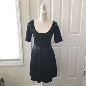 Theory Black Scoopneck Pleated Skirt Melody Dress